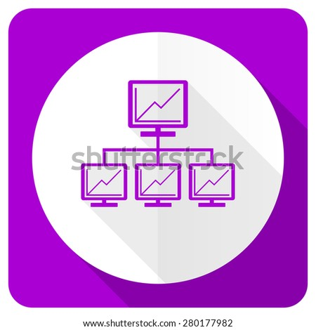 network pink flat icon lan sign  - stock photo