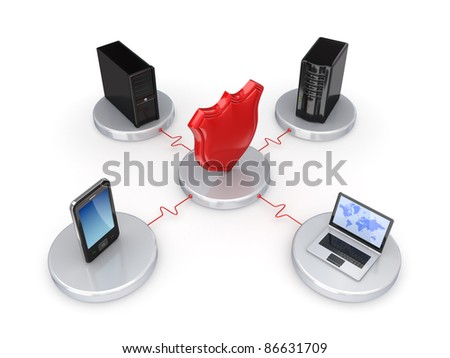 Network protection concept.Isolated on white background.3d rendered. - stock photo