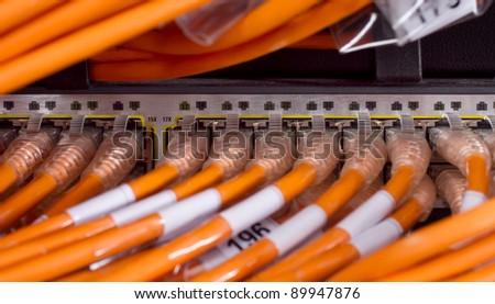 network router and cables - stock photo