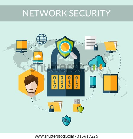 Network security concept with padlock and world map on background  illustration - stock photo