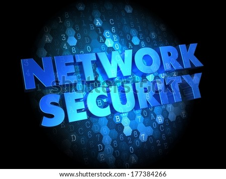 Network Security - Text in Blue Color on Dark Digital Background. - stock photo