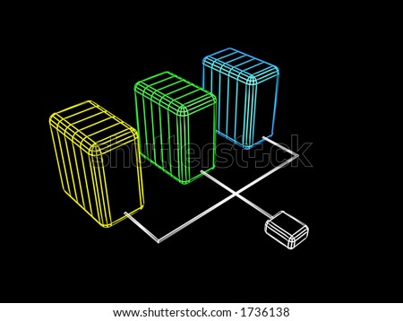 Network server cluster. Abstract internet server stations. - stock photo