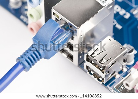 Network server network cable plug - stock photo
