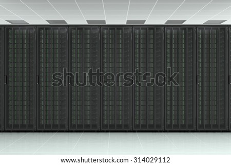Network server raw wall with computers for digital tv, data, communications and internet - stock photo
