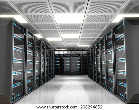 Network server room with high technology equipment - stock photo