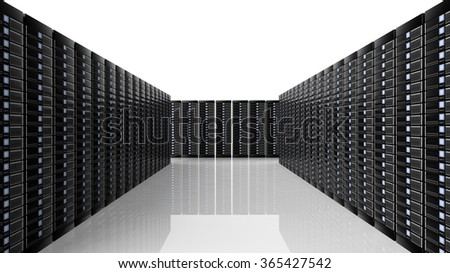 Network servers data center room, on white background with reflections. - stock photo