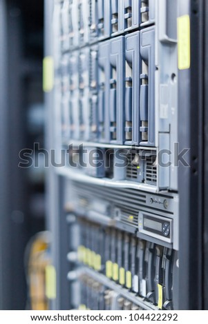 Network servers in a data center. Swallow depth of Field - stock photo