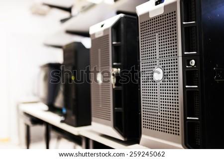 Network servers in data center room . - stock photo