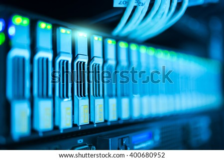 Network servers in data room Domestic Room . - stock photo