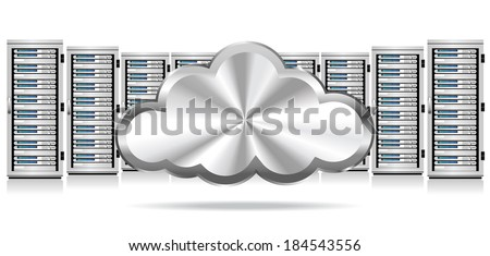 Network Servers with Cloud Icon - Information technology conceptual image - Raster Version - stock photo