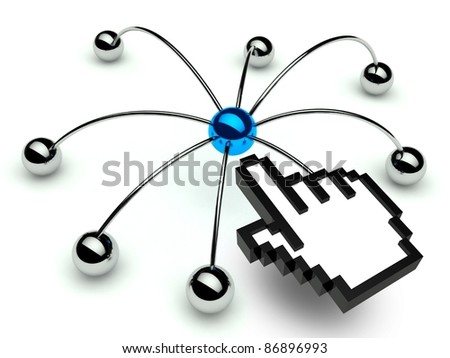 Network spider, Conception of communication with hand icon - stock photo