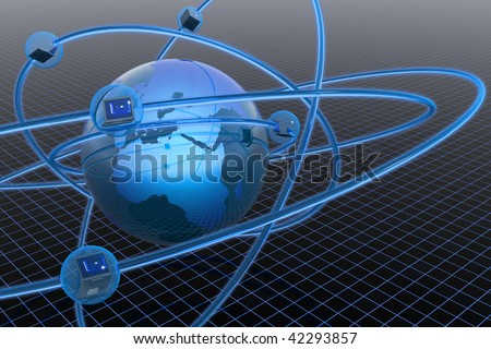 Network structure. Hi-res digitally generated image. - stock photo