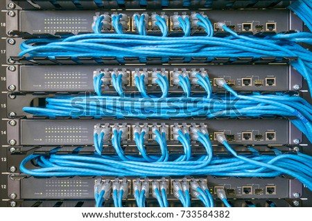 network switch ethernet cables stock photo royalty free 733584382 rh shutterstock com connecting a network switch wiring up a network switch