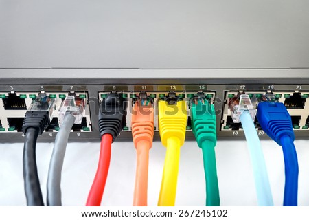 Network Switch with connected colourful network cables