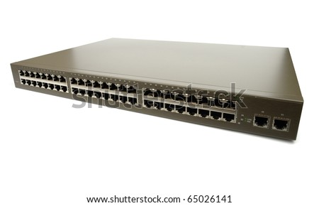 Network switch with 52 ports isolated over white background. Angled version. Clipping path. - stock photo