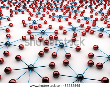 Network symbolized by red and blue connected spheres