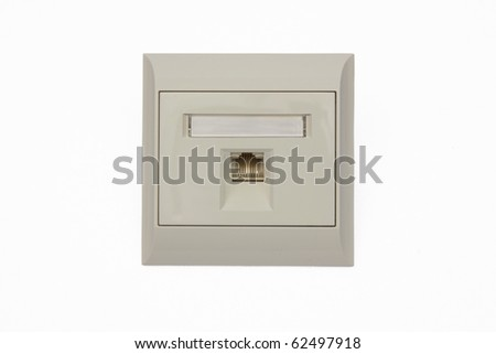Network wall outlet isolated on white background - stock photo