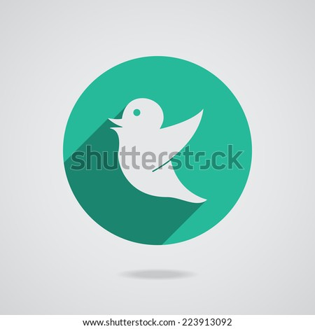 Network white icon bird in black silhouette isolated on the teal background illustration