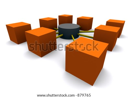 network with classic database icon - stock photo