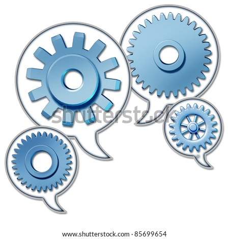 Networking and referrals represented by word bubbles with cogs and gears representing the social media concept of sharing information technology. - stock photo