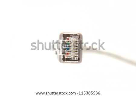 Networking cable with connector - stock photo