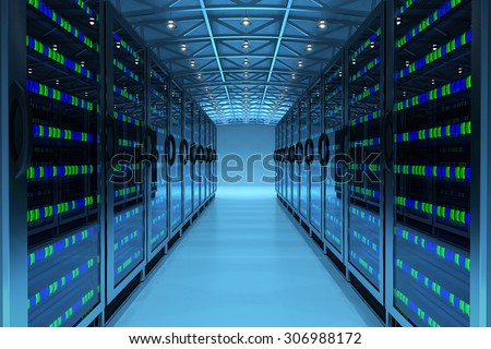 Networking communication technology concept, network and internet telecommunication equipment in server room, data center interior