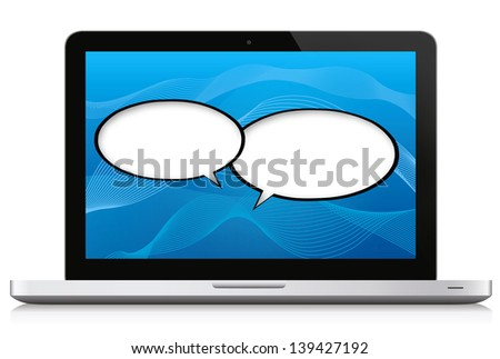 Networking / Social Media Concept. Laptop with two speech bubbles over a blue background. Isolated on white and reflection at teh bottom. - stock photo