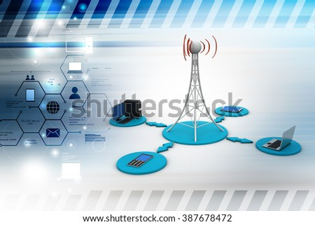 Networking tower with computer network in color background - stock photo