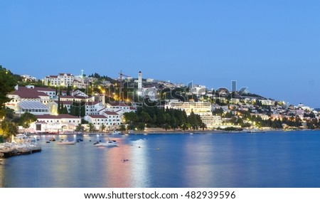 Neum city in the evening, a popular tourist resort in Bosnia and Herzegovina, Europe