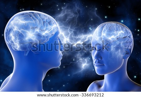 Neural connections in the brains of men and women. Love at first sight. Relationship between people. 3D illustration. A high resolution. - stock photo