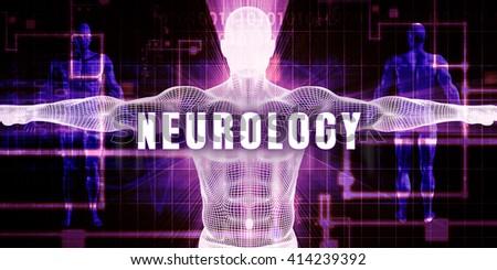 Neurology as a Digital Technology Medical Concept Art 3D Illustration Render - stock photo