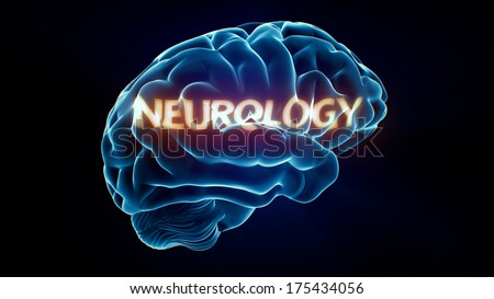 Neurology Xray Brain isolated on black background - stock photo