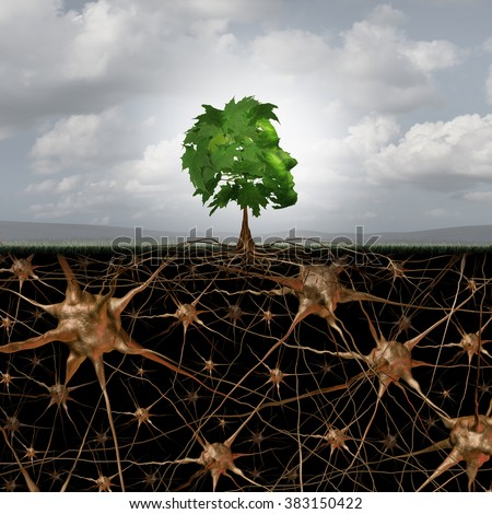 Neuron brain connection concept as a tree in a human head form with roots shaped as active growing neurons with connections to the nervous system anatomy. - stock photo