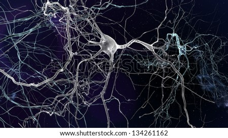Neuron cells network, concept of neurons and nervous system - stock photo