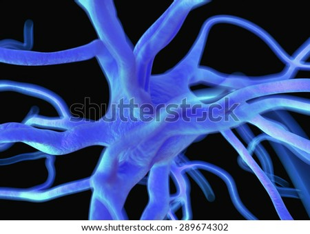 Neuron or nerve cells which form part of the nervous system which process and transmit information by electrical and chemical signalling. - stock photo