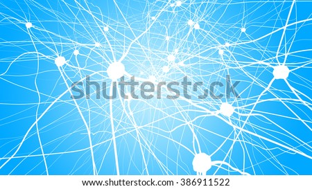 Neurons in the brain on light background - stock photo