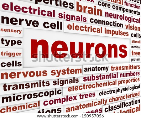 Neurons scientific words poster. Neurological science conceptual background - stock photo