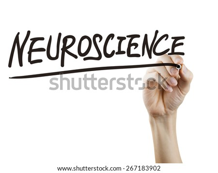 neuroscience word written by hand over white background - stock photo
