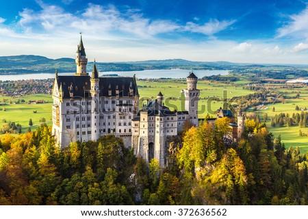 Neuschwanstein castle in a summer day in Germany - stock photo