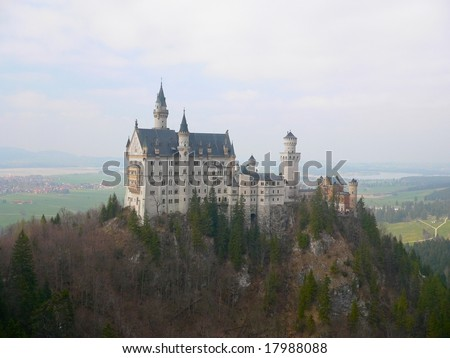 Neuschwanstein Castle in German Alps - stock photo