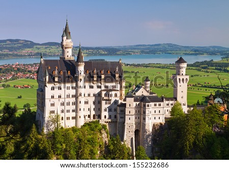 Neuschwanstein Castle  is a 19th-century Romanesque Revival palace in southwest Bavaria, Germany. - stock photo