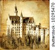 Neuschwanstein castle - old book cover style - stock photo