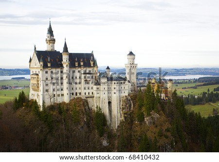 Neuschwanstein Castle on a beautiful autumn day. - stock photo