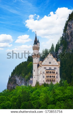 Neuschwanstein castle view and mountains in Bavaria, Germany - stock photo
