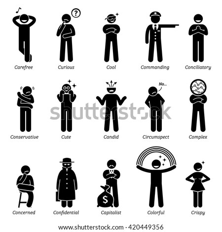 Neutral Personalities Character Traits. Stick Figures Man Icons. Starting with the Alphabet C.