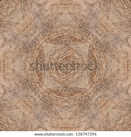 Neutral Seamless Square Hard Wood Parquet Floor Pattern With Triangles and Concentric Annual Growth Rings - stock photo