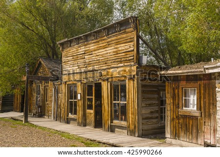 NEVADA CITY, MONTANA, USA - AUGUST 2004: Located in Alder Gulch, Nevada City is an preserved 1860s historic gold rush frontier town. Now a tourism destination and movie set. - stock photo