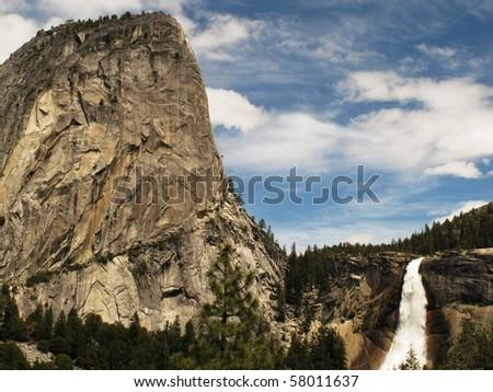 Nevada Falls and Liberty Cap, Yosemite National Park - stock photo