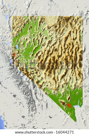 Nevada. Shaded relief map, with major urban areas and rivers, surrounding territory grayed out. Colored according to elevation. Clipping path for the state area included. Data source: NASA - stock photo