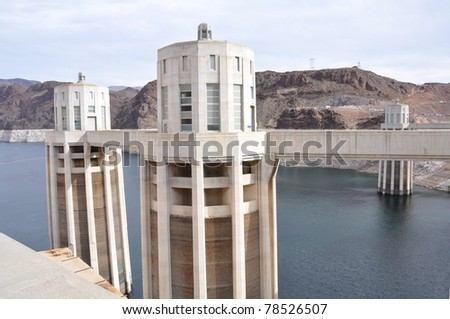 Nevada side of Hoover Dam - stock photo